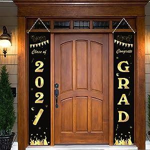 LuluPlus Graduation Porch Sign 2021, Graduation Porch Banner 2021, Black and Gold Graduation Porch Sign, Graduation Party Supplies 2021, College Graduation Decorations 2021