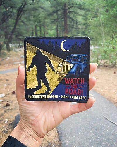 Cryptozoology Tracking Society Bigfoot Sasquatch Road Safety Badge Vintage Auto Retro Art Road Safety PSA Cryptozoology Patch