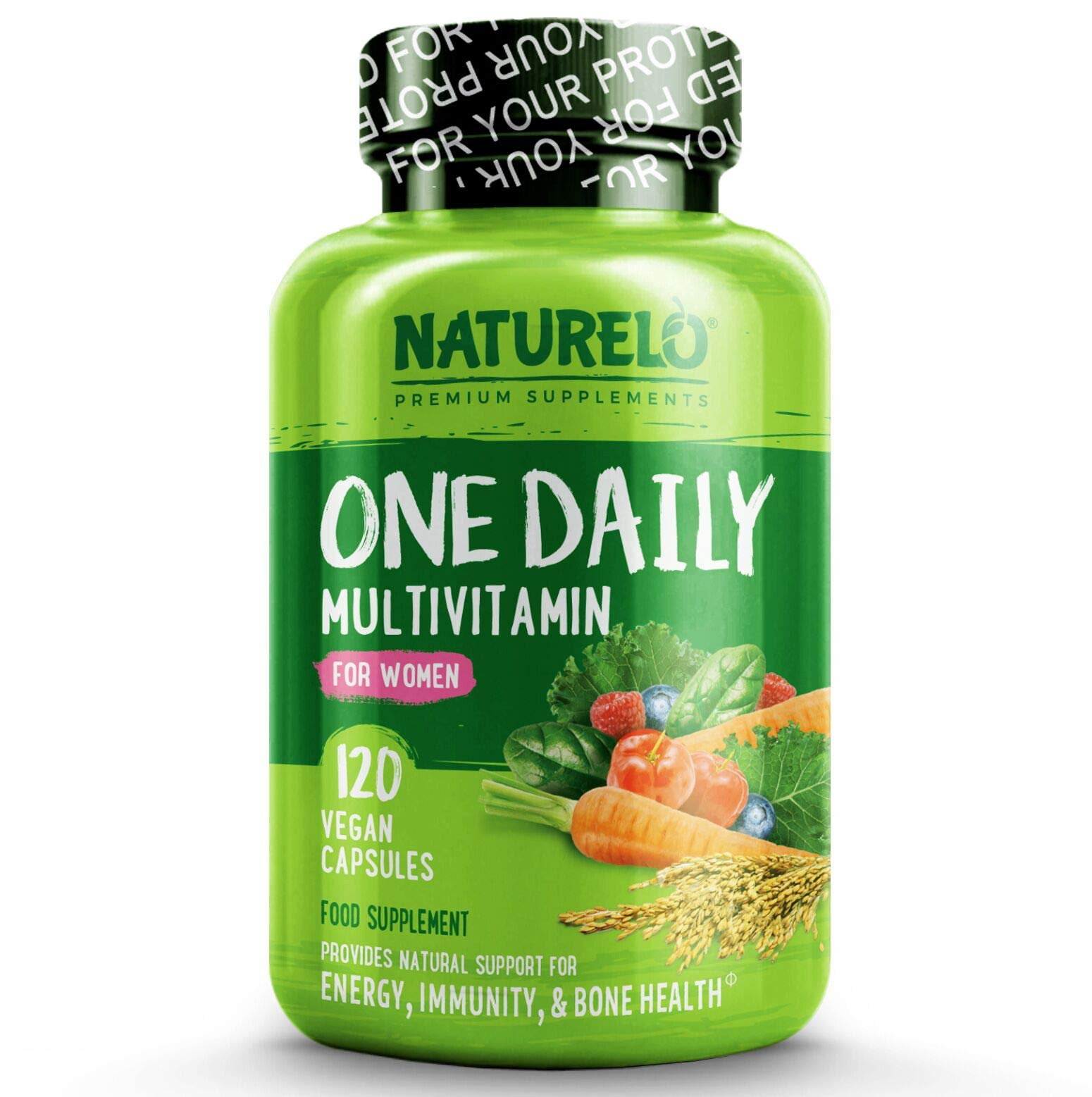 NATURELO One Daily Multivitamin for Women - with Natural Food-Based Vitamins, Fruit & Vegetable Extracts - Best for Maintaining Essential Nutrients - Non-GMO - 120 Vegan Capsules | 4 Month Supply