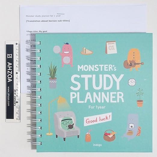 Amazon.com: Monster Study Planificador para 1 año con regla ...