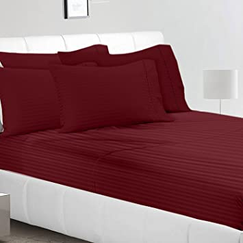 Magnetic Shadow 250 TC Self Stripe Queen Size Elastic Fitted Bedsheets, Maroon