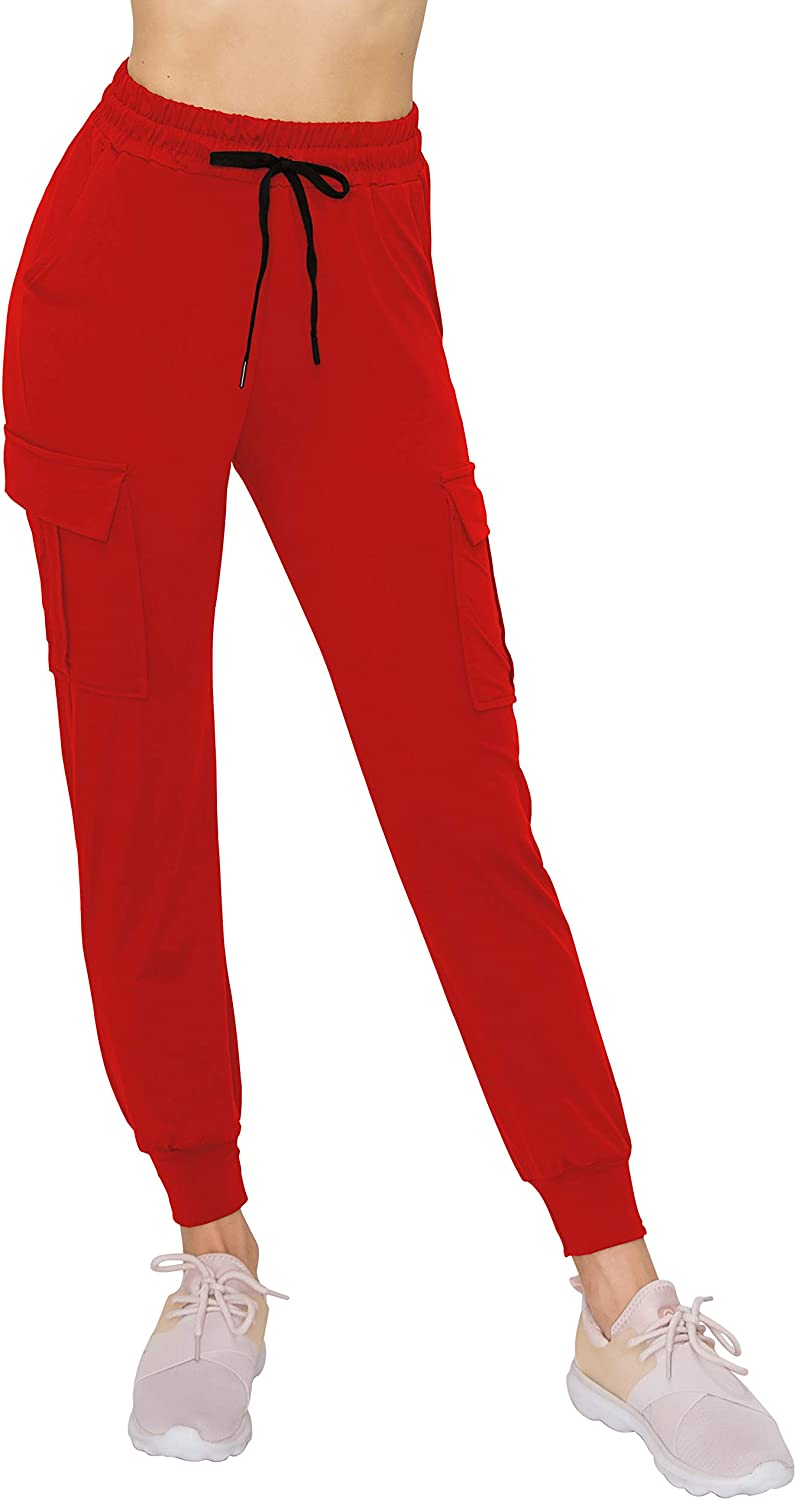 Lightweight Skinny Solid Soft Stretch Pockets Sweatpants ALWAYS Womens Cargo Jogger Pants