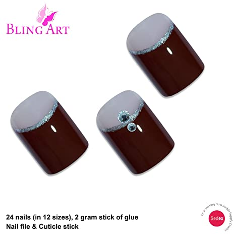 Amazon.com: Bling Arte falso Uñas Francés falso puntas de ...