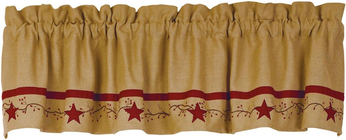 Primitive Star Vine Cotton Burlap Country Valance