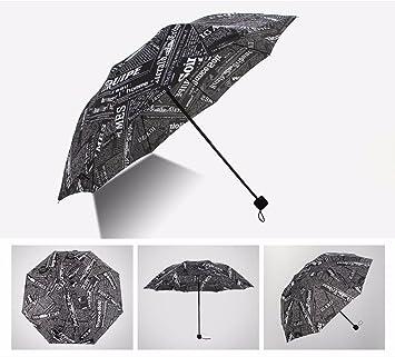 CNBBGJ Retro el periódico plegado paraguas mujer paraguas de doble uso para la estación lluviosa y