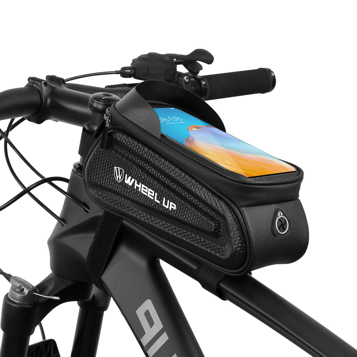 Suruid Bike Frame Bag, Waterproof Bike Phone Mount Bag Large Capacity Front Frame Top Tube Handlebar Bag with Touch Screen Phone Holder Case Compatible with All Cellphones Under 7.0inches