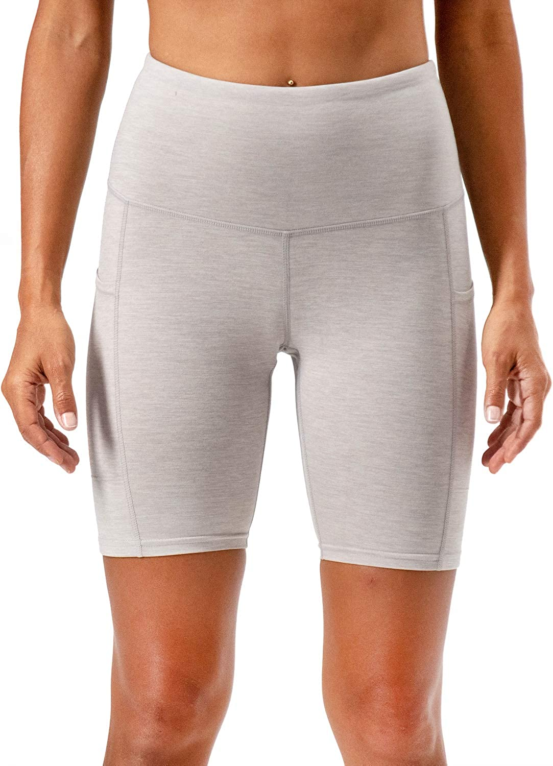 DEVOPS Womens 2-Pack High Waist Workout Yoga Running Exercise Shorts with Side Pockets