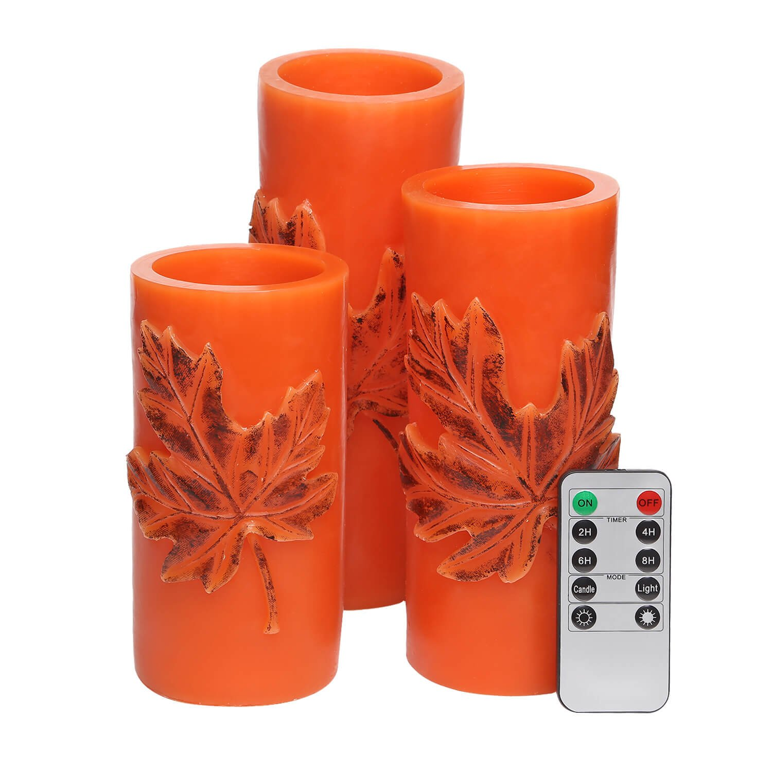 Flameless Candles with Remote Control&Timer Battery Operated Real Wax Pillar Candles Flickering Candle Light Embossed Maple Leaf Pattern Set of 3 (3''Dx6'' 7'' 8''H, Orange)[No Included Battery]