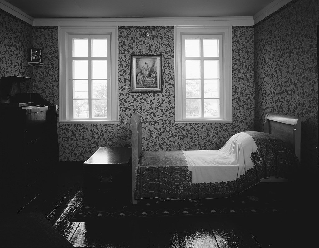 Vintography 8 x 12 black white photo bedroom at the russian bishops house residence the bishop kamchatka the kuiles the aleutian islands during russias
