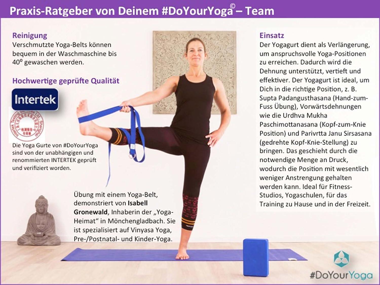 #DoYourYoga Cinturón de Yoga »Mathadi« / Correas para Yoga con Cierre en Forma de Anillas metálicas / 300x 3,8 cm/Disponible en 11