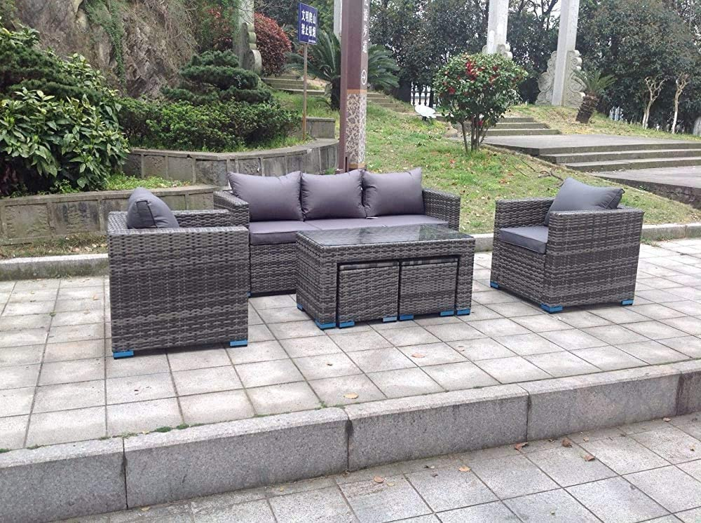 Salon de jardin jardin canap/é table angle de rotation,Grey