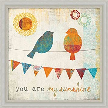 You Are My Sunshine by Mollie B Birds on a Wire 14x14 Framed Art Print  Picture