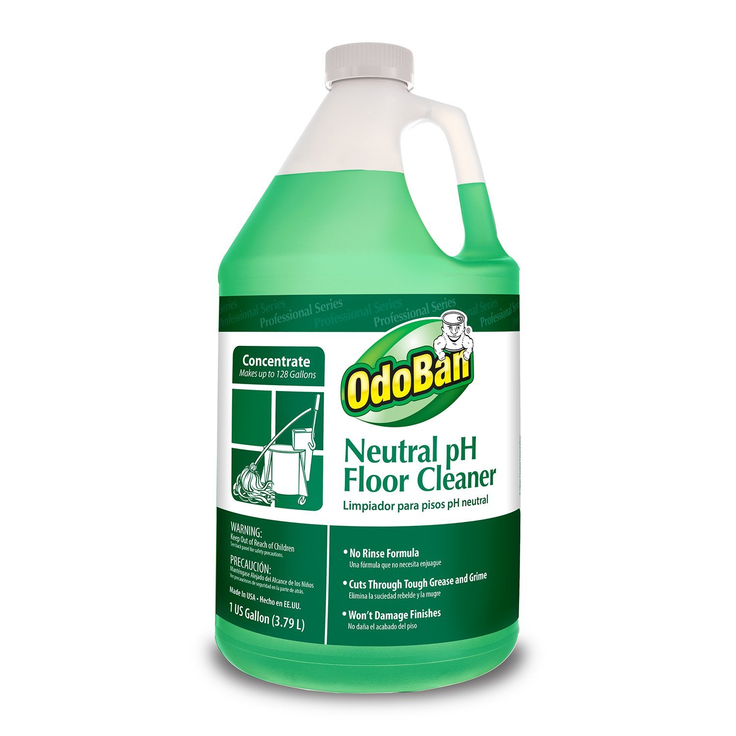 OdoBan Professional Series No Rinse Neutral pH Floor Cleaner Concentrate, 128.15 Fl Oz, Pack of 4