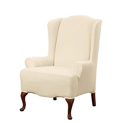 Sure Fit Stretch Pinstripe   Wing Chair Slipcover   Cream (SF39062)