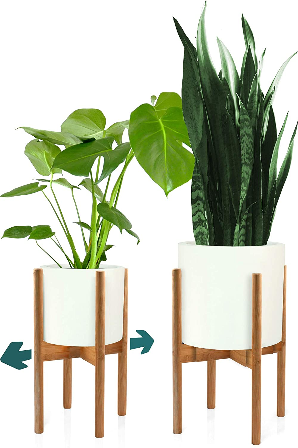 """FOX & FERN Modern Adjustable Plant Stand - Adjust Width 8"""" up to 12"""" - Bamboo - EXCLUDING White Ceramic Plant Pot"""