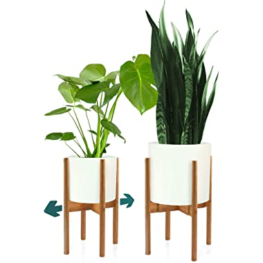 Fox & Fern Mid Century Plant Stand - Bamboo Adjustable Planter 8 - 12  Inch – EXCLUDING White Ceramic Pot – Retro, Modern, Expandable Raised Plant Holder for Indoors – Easy Assembly