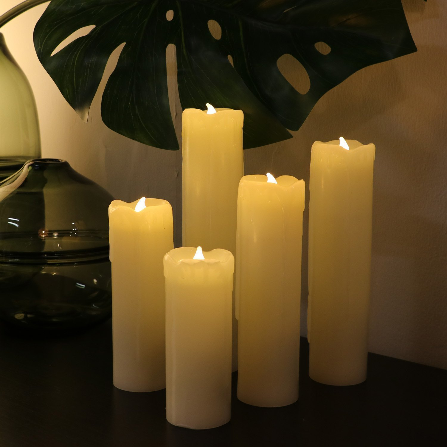 Set of 8 Flameless LED Candles with Timer, Battery Operated Candles with Remote Control, Ivory Wax Drip Finish, H4''/5''/6''/7''/8'', Long Lasting Batteies Included by Rhytsing (Image #3)