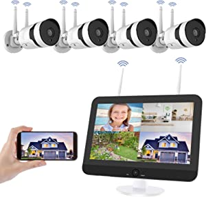 Wireless Security Camera System with 12 inch LCD Monitor, HJSHI 1080P 8CH NVR 4Pcs Outdoor/Indoor WiFi Surveillance Cameras with Night Vision, Two-Way Audio, Motion Alert, Remote Access, No Hard Drive