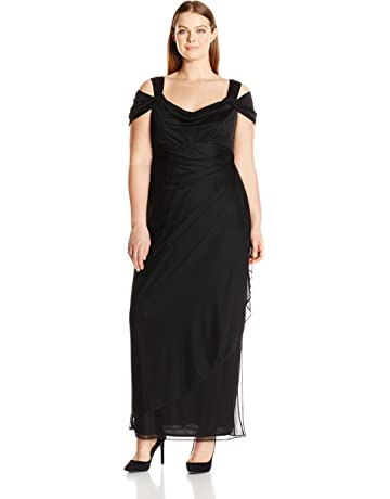 a96714e3c636c Alex Evenings Women's Plus Size Cold-Shoulder Dress Side Ruched Skirt