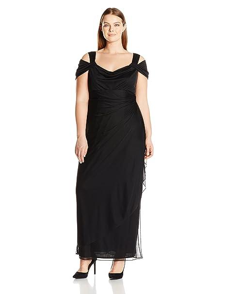 6b607659134ab Alex Evenings Womens Plus-Size Women s Long Mesh Cold Shoulder Dress ...