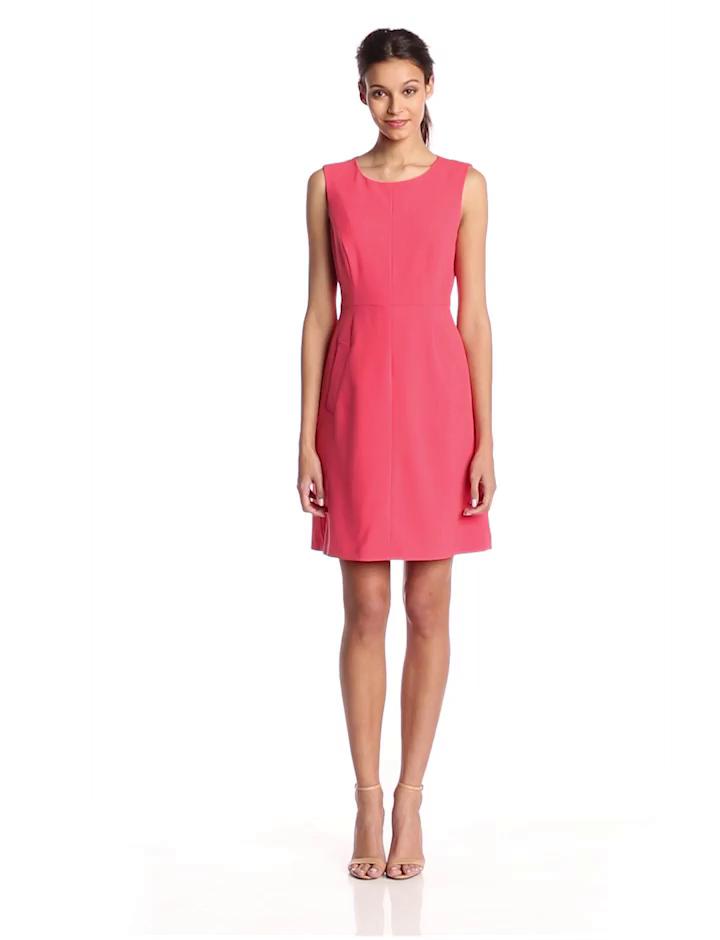 Nine West Women's Sleeveless Seamed Dress with Pockets, Tulip, 16