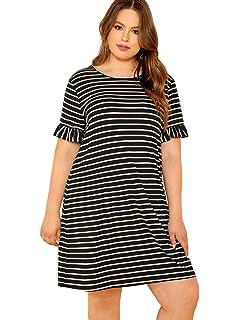 564e1c9efec90 Floerns Women's Plus Size Striped Short Sleeve Loose Swing T-Shirt Dress