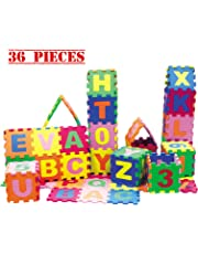 Baby Foam Play Mat (36-Piece Set) 5x5 Inches Interlocking Alphabet and Numbers Floor Puzzle Colorful EVA Tiles Girls, Boys Soft, Reusable, Easy to Clean by Dimple