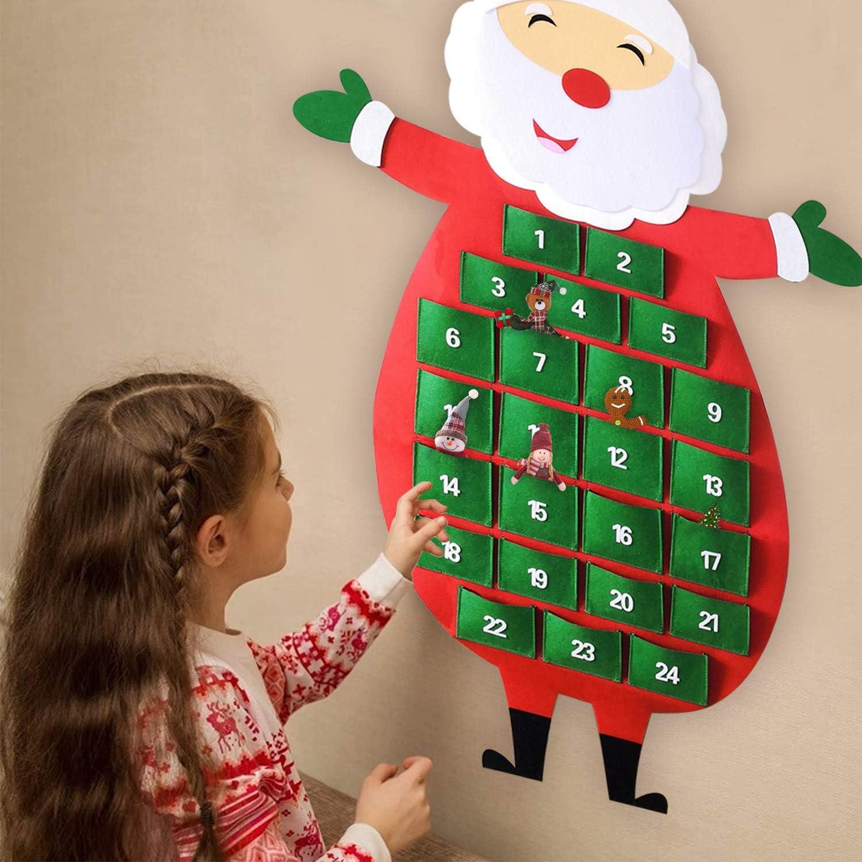 140 x 89 cm Humairc Calendario de Adviento XXL de fieltro 2020 con 24 bolsillos grandes calendario colgante decoraci/ón de Navidad calendario de Navidad para rellenar para adultos y ni/ños