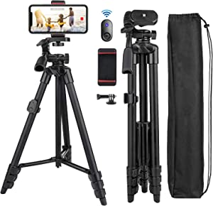 Phone Tripod Nagnahz 55inch Video Recording Tripod Stand with Bluetooth Remote 360 Panorama Pan Head Travel Portable Selfie Stick Extendable Tripod for Mobile Phones iPhone 11/Xs/X/8/Gopro/Camera