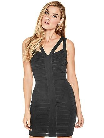 5fec4f15bad GUESS Factory Women s Nikole Sexy Knit Bandage Plunging Neck Black Dress at Amazon  Women s Clothing store