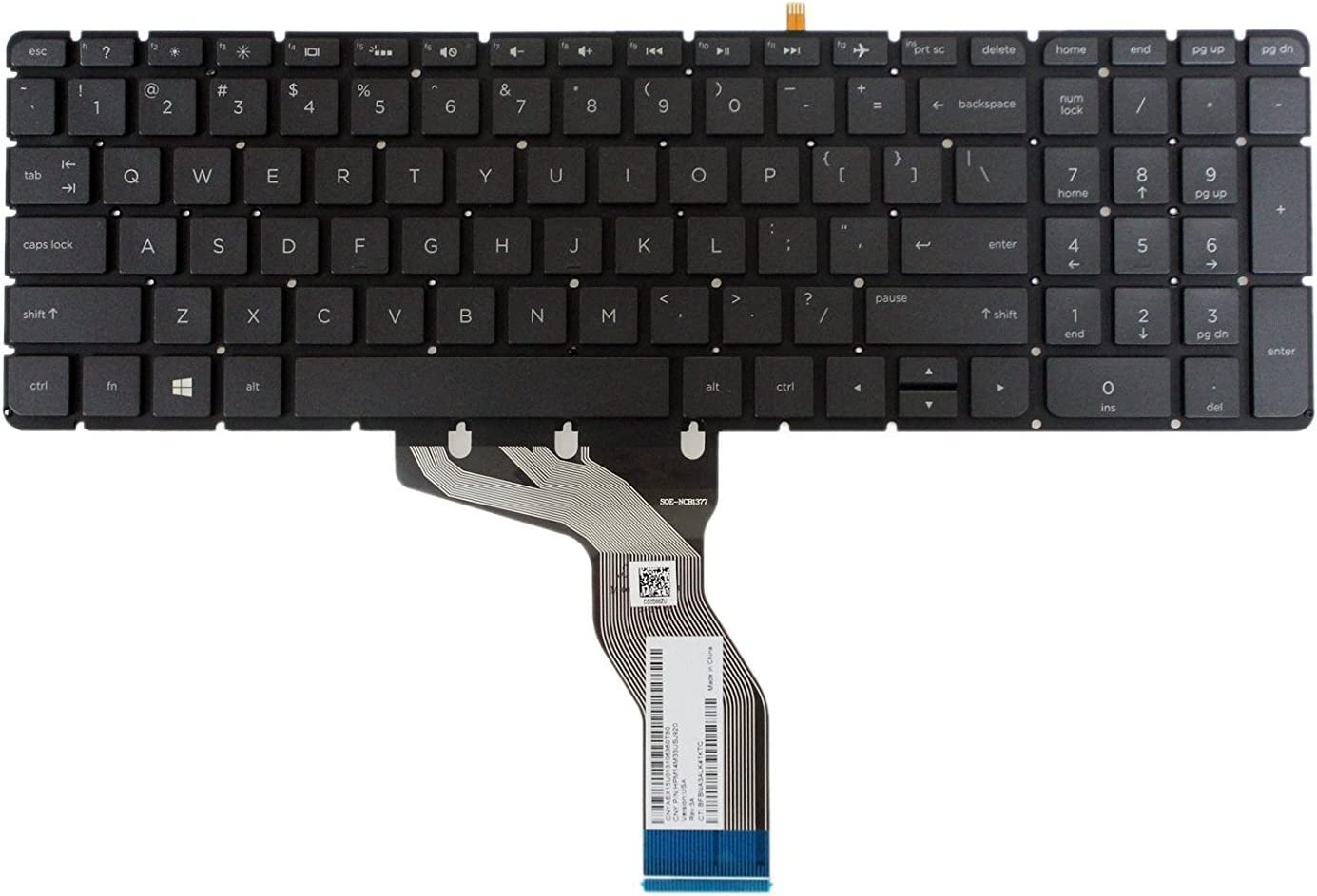 New US Black Backlit English Keyboard Replacement for HP Pavilion 15-aw007ds 15-aw053nr 15-aw008cy 15-aw068nr 15-aw008ds 15-aw077nr 15-aw002au 15-aw050ca Light Backlight Without Frame