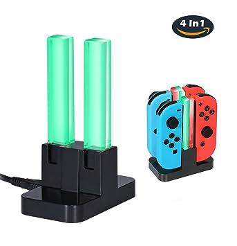 Leegoal (TM) 4 en 1 cargador para mandos Joy-con Nintendo Switch, estación de carga con indicador LED para Nintendo Switch Joy-con