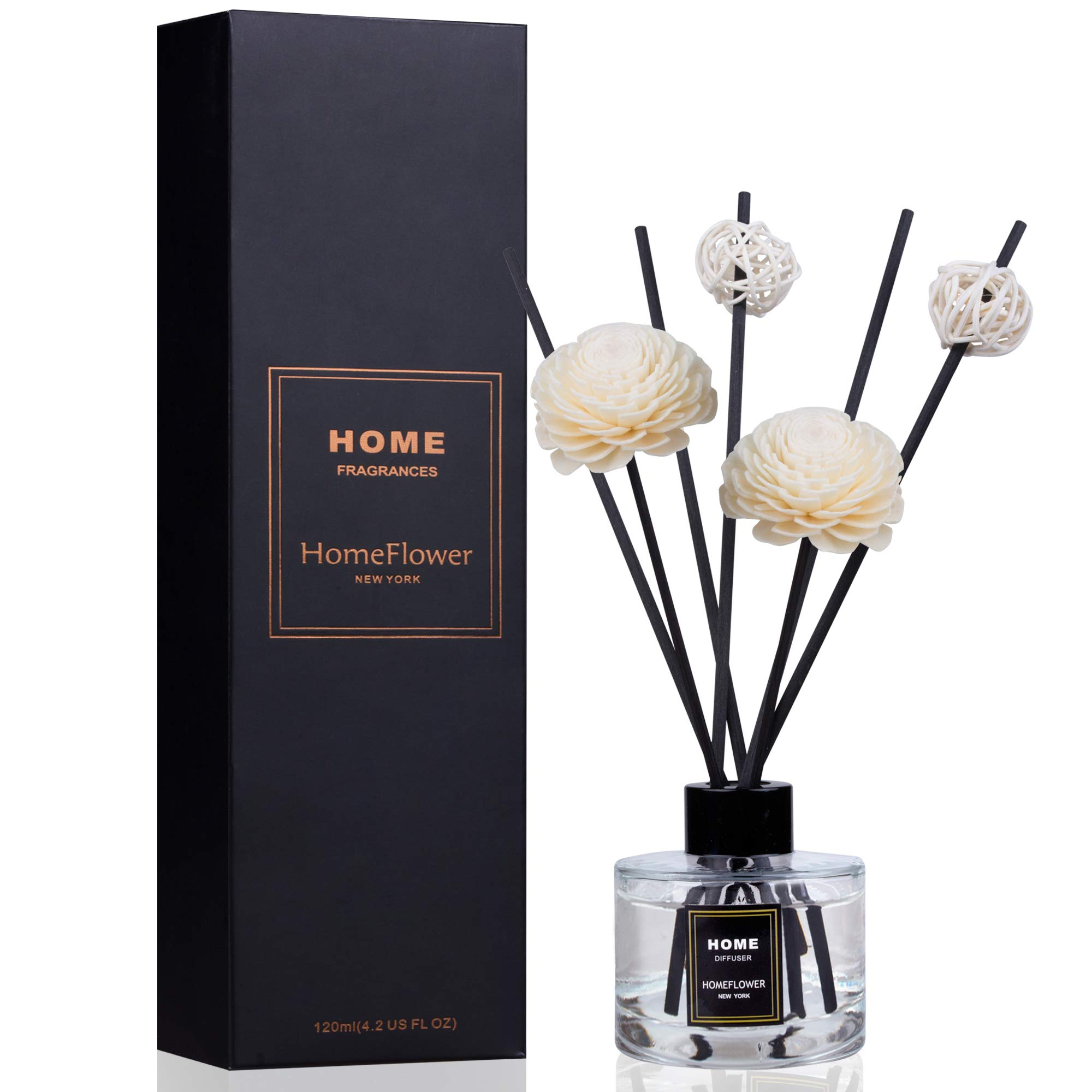 HomeFlower Reed Diffuser Set Lavender: Scent Sticks & Sola Flowers Included - Scented Liquid Fragrance Oil - Room Diffusers for Home or Bathroom - Made with FreshScent Premium Essential Oils - 4 oz by HomeFlower (Image #1)