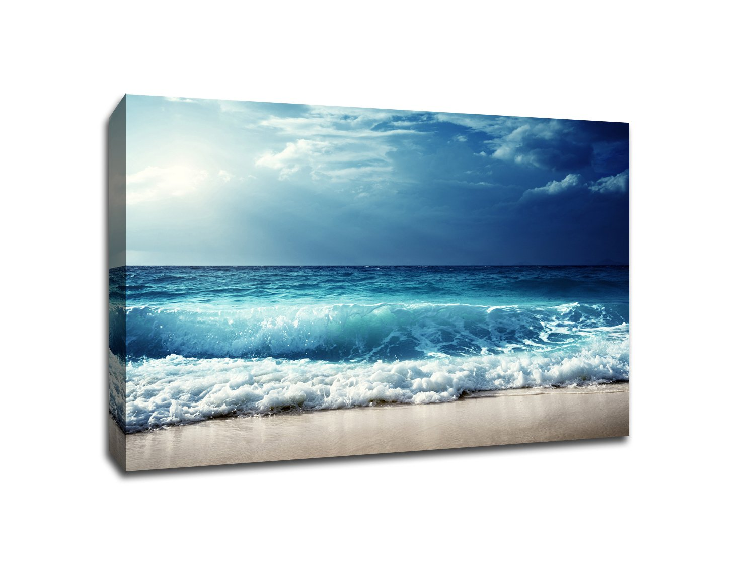 Cloudy Waves - Water Landscapes - 48x36 Gallery Wrapped Canvas Wall Art