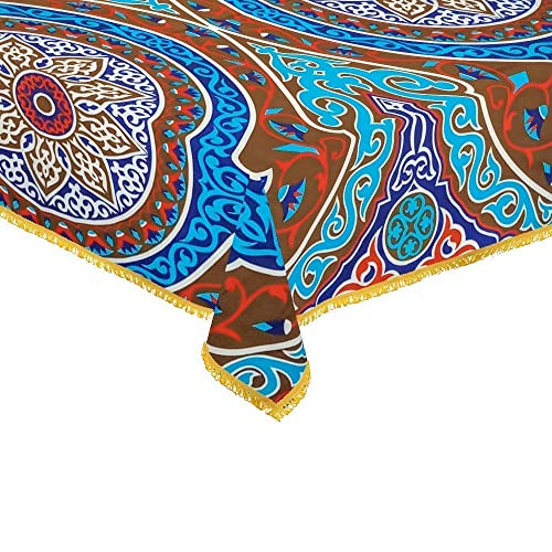 CraftiEgypt Egyptian Ramadan Decorations Colorful Green Printed Khayamiya Polyester Cotton Tablecloth Cover Top Round 55 Inches 140 cm