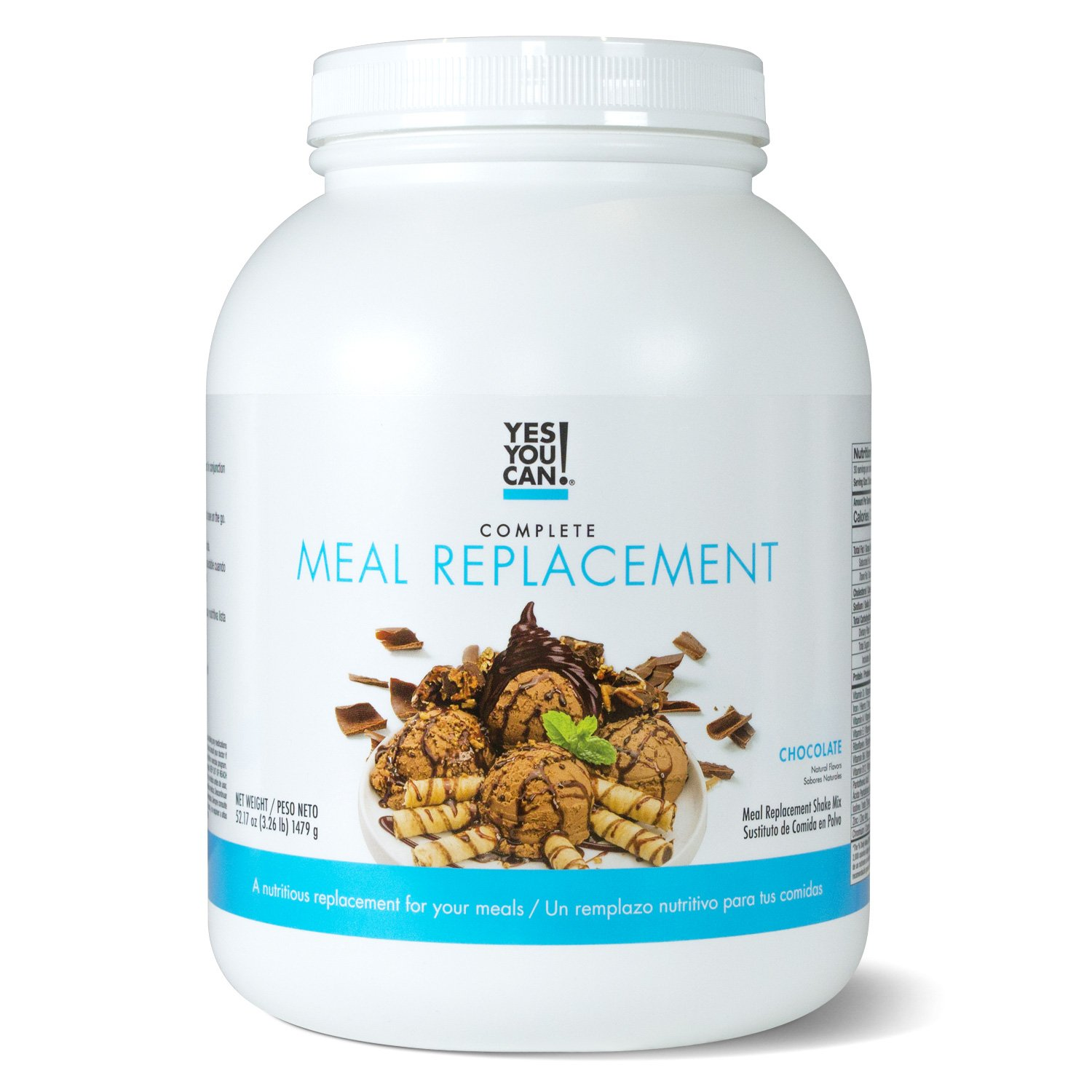 Yes You Can! Complete Meal Replacement, Up to 2 Meals a Day, Helps Lose Weight - Sustituto de Comida Completo con Proteína para Perder Peso 30 Servings, 3.26 Lb, Chocolate Flavor