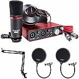 Focusrite Scarlett 2i2 Studio USB Audio Interface and Recording Bundle (2nd Gen) Plus Free Knox Microphone Suspension Boom Scissor Arm and 2 Knox Pop Filters