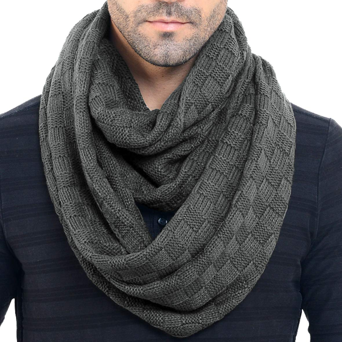 Men Knit Scarf Warm Winter Infinity Scarves E5031b