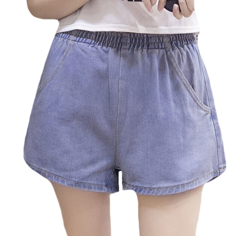 MLG Womens Casual Stretchy Elastic Waist Solid Denim Shorts