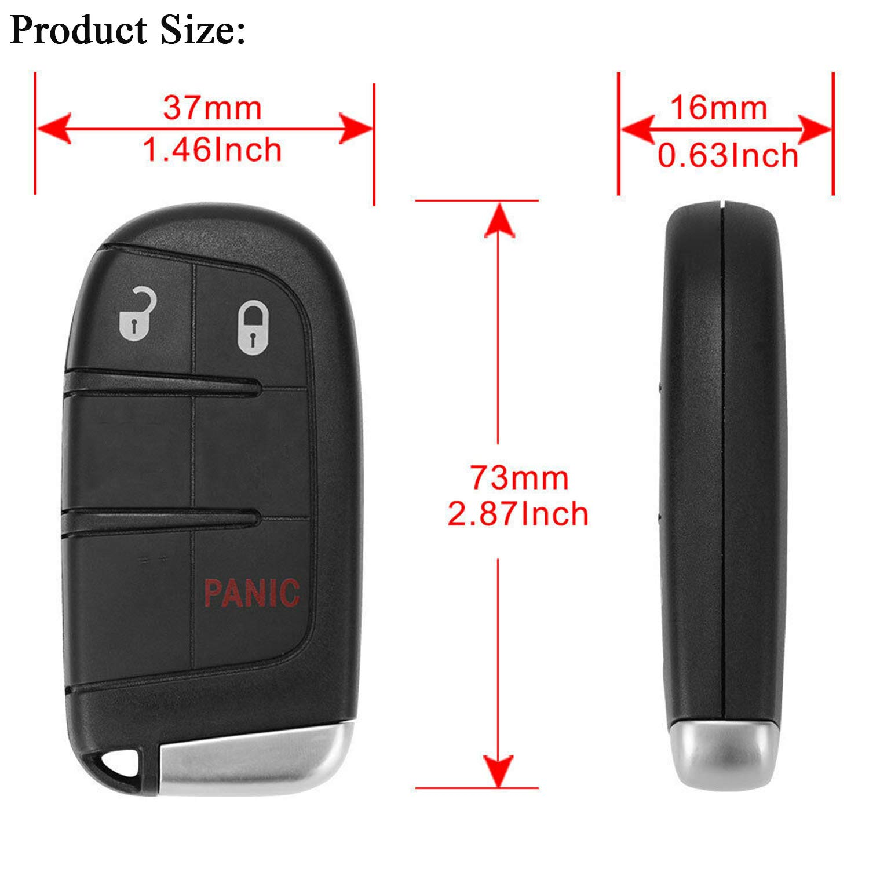 2500 Pack of 2 KeylessOption Keyless Entry Remote Start Smart Car Key Fob Alarm for Ram 1500 GQ4-54T 3500