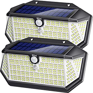 Biling Solar Lights Outdoor 266 LED with Lights Reflector, IP65 Waterproof Solar Motion Sensor Security Lights, 3 Modes Wireless Wall Lights for Garden, Patio, Yard, Garage(2 Pack)