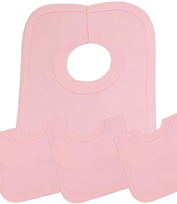 BabyPrem Babyl/ätzchen Packung mit 4 Pop /über den Kopf Baumwolle Farbigen L/ätzchen BLAU
