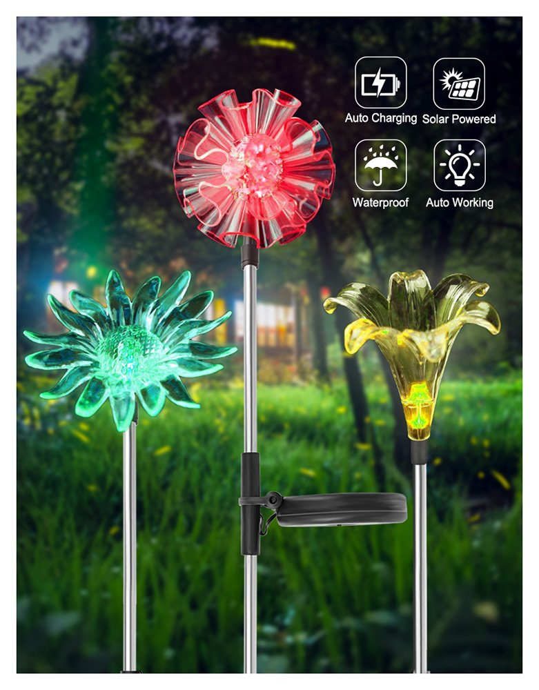 UNIWA 7 Color-Changing LED Solar Garden Stake Lights, 3 Pack Outdoor Solar Powered Flower Lights Waterproof Figurines Decor Landscape Pathway Lights for Garden, Yard, Lawn, Patio