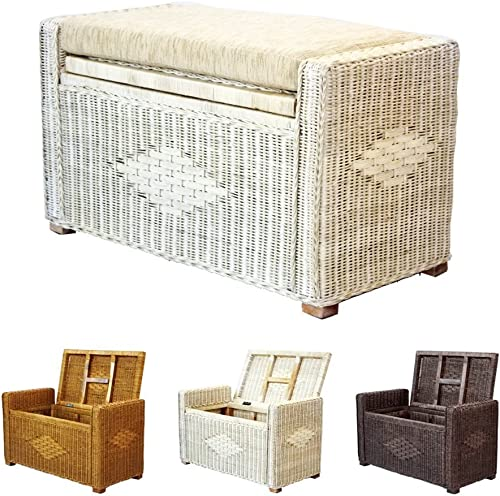 Bruno Handmade 32 Inch Rattan Wicker Chest Storage Trunk Organizer Ottoman W/Cushion White Wash