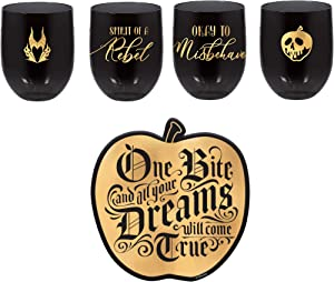 Disney Villains Cup and Coaster Set of 4 - Poison Apple Paper Coasters and 15 oz Black Plastic Stemless Glasses
