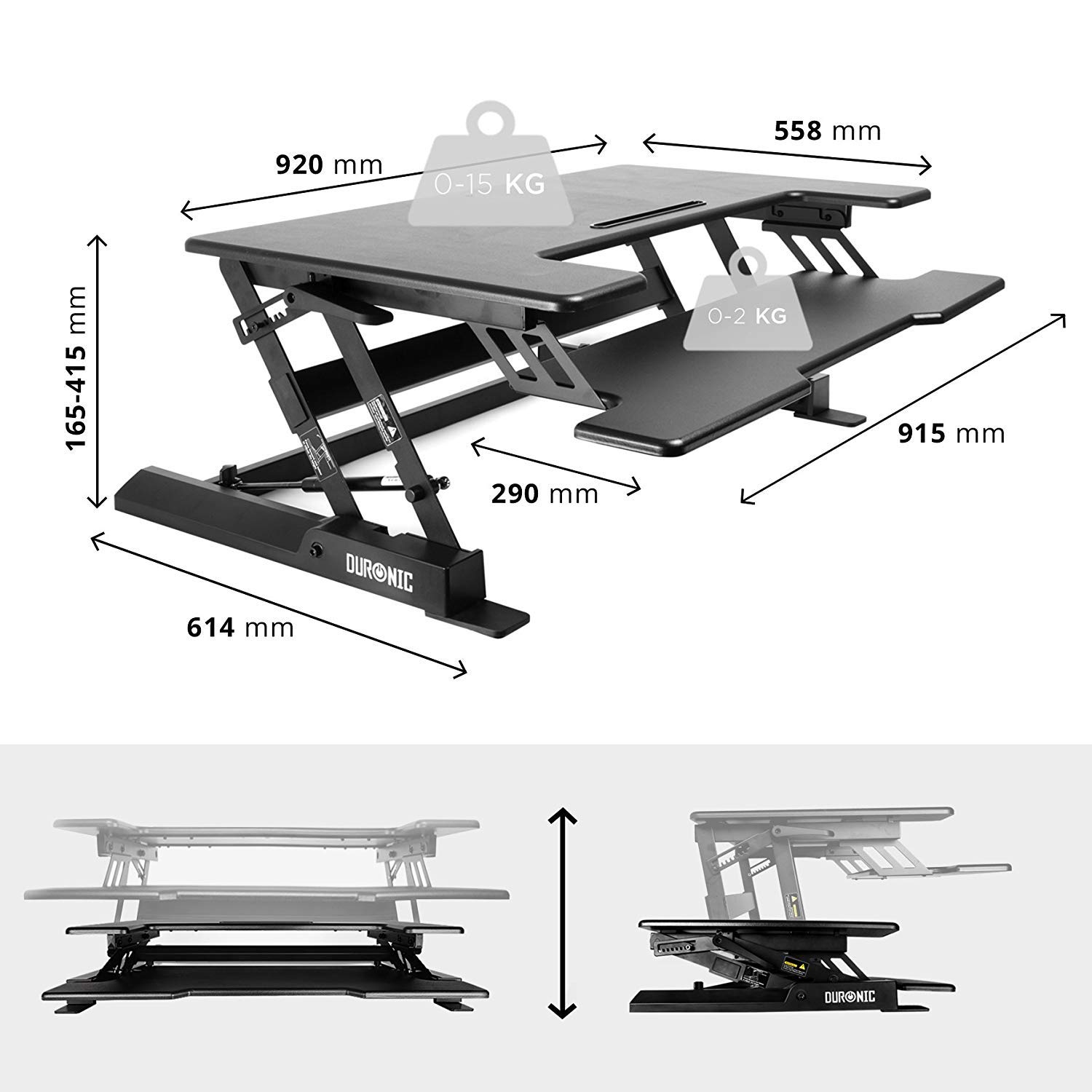 Duronic Monitor and Keyboard Riser Renewed DM05D1 Sit Stand Desk PC Workstation Height Adjustable Table Compatible with Monitor Arm