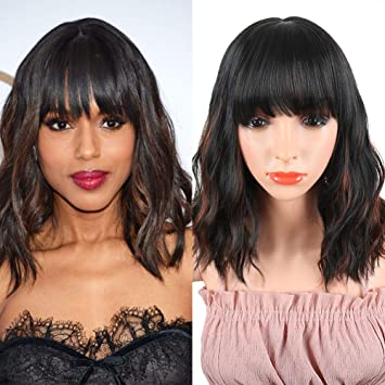 Synthetic Curly Bob Wig with Bangs for Black Women Medium Black Short Curly Wavy  Wig Natural bc4bf94a39f6