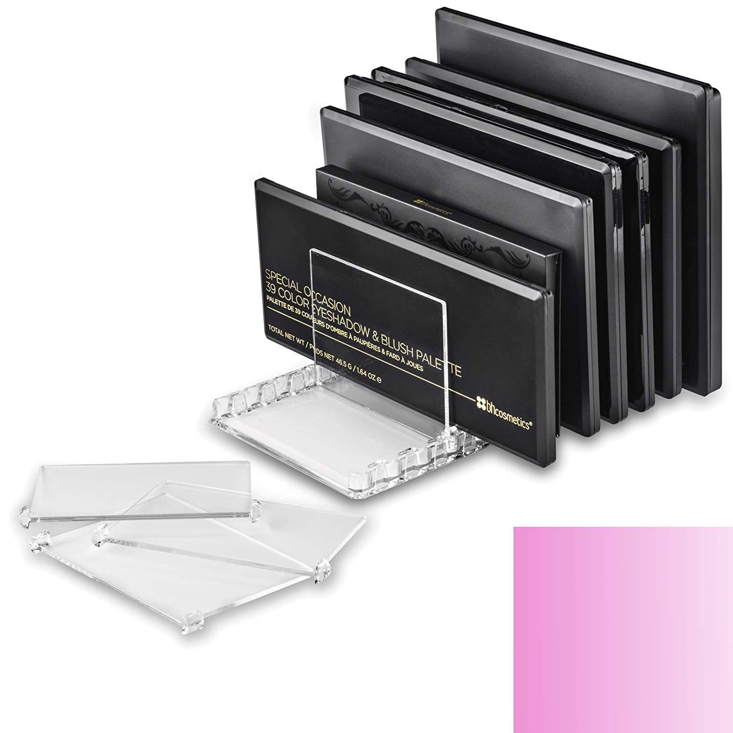 byAlegory Acrylic Makeup Palette Organizer With Removable Dividers   10 Space Storage Fits All Palette Sizes (PINK CLEAR)