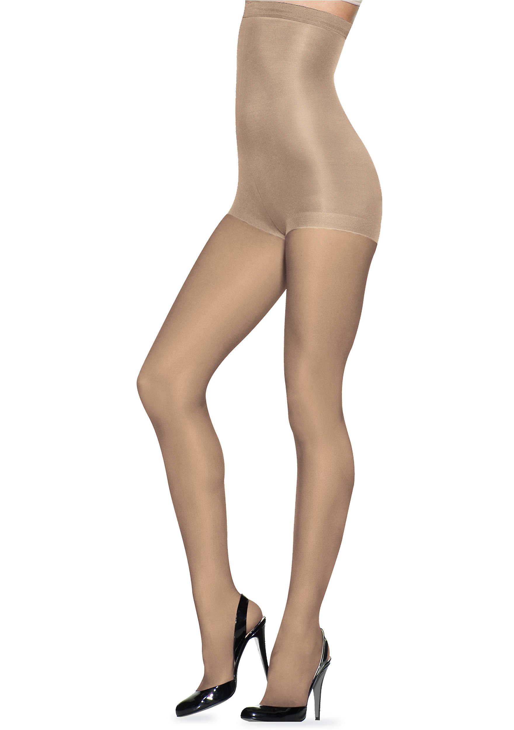 L'eggs Profiles Shaping Sheers -High Waist To Mid Thigh- Tummy Control Top Pantyhose 3-Pack, Nude, Medium