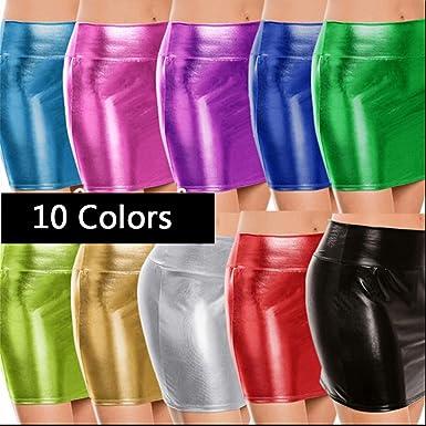 Belldan Sexy Elegante Faldas Mini de Faux Leather Latex Mini Falda ...